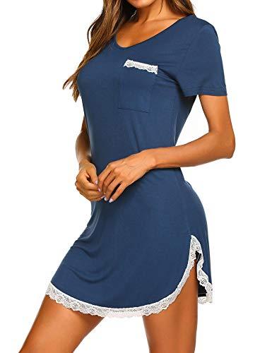 MAXMODA Nachthemd Damen Nachthemden Nachtwäsche Baumwolle Sleepshirt Kurzarm Sexy Schlafshirt Nachtkleid -S