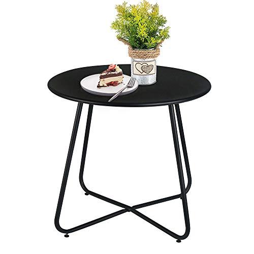 Patio Bistro Side Table Metal Steel Coffee Snack Tea Accent End Table Small Round Indoor Outdoor Blancy Garden Black