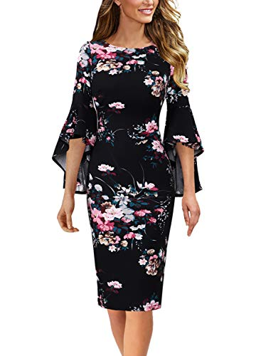 Vfshow Womens Black Multicolor Floral Print Bell Sleeves Cocktail Casual Party Bodycon Pencil Sheath Dress 3677 FLW M