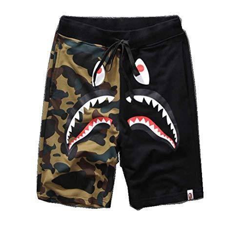 TYTO Men Shark Ape Bape Camo Mens Casual Sports Pants Men s Fashion Jogger Shorts(Black,M)
