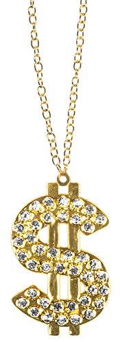 Das Kostümland Dollar Halskette mit Strass - Gold - Schmuck Hip Hop Rapper Pimp Casino Millionär Protzer Kostüm Fasching Mottoparty