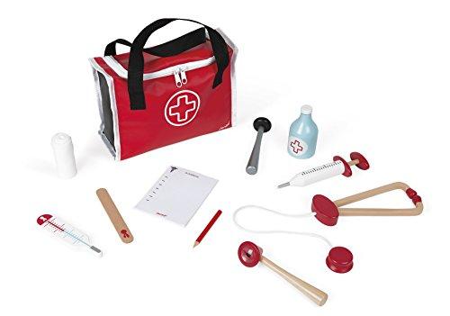 Janod - J06513 - Maletín de médico para niños con 10 accesorios de madera maciza incluidos, juguete de juego de simulación para niños a partir de 3 años, color rojo