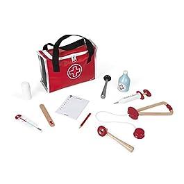 Janod – La valigetta del dottore (legno), per bambini, 10 accessori in legno massiccio inclusi