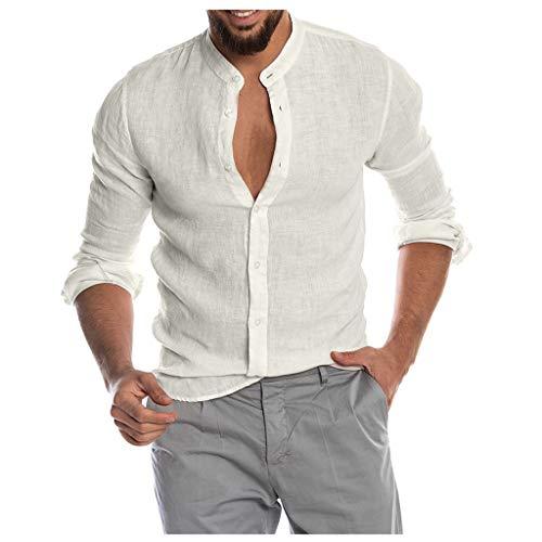 DNOQN Top Herren Long Tee Männer Mode für Männer Beiläufig O-Ausschnitt Taste Solide Strand Langarm Top Bluse L