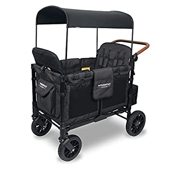 WONDERFOLD W4S 2.0 Multi-Function 4 Passenger Folding Stroller Wagon - Adjustable Canopy Reclining Seats with Magnetic Buckles and an Adjustable Vegan Leather Covered Handle Bar  Black