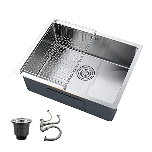 PINFU Fregadero de Cocina, Fregadero de Cocina bajo encimera de un tazón SUS304 de Acero Inoxidable (55 × 45 cm)