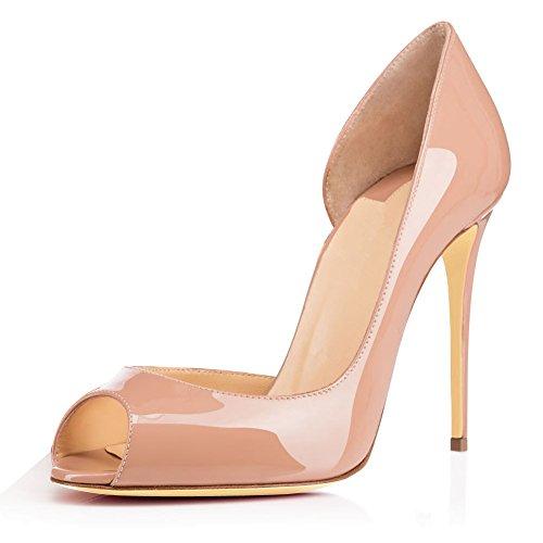 elashe Damenschuhe High Heels Pumps  Peep Toe 12CM Cut Out Lack Heels   D'orsay Hochzeit Schuhe   Hochzeit Party Pumps Beige EU38