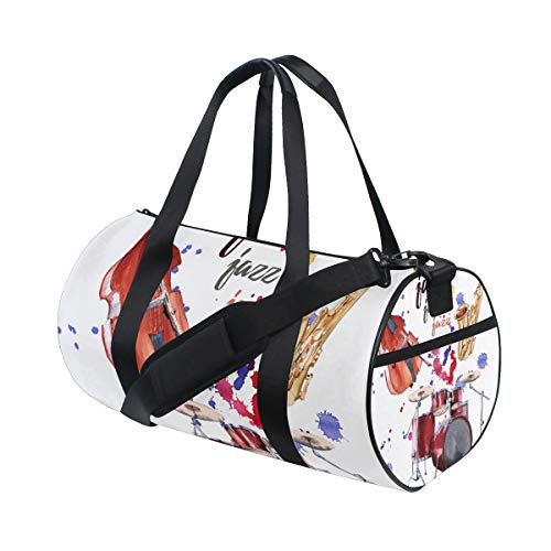ZOMOY Sporttasche,Jazz Instruments Saxophon Schlagzeug Kontrabass,Neue Druckzylinder Sporttasche Fitness Taschen Reisetasche Gepäck Leinwand Handtasche