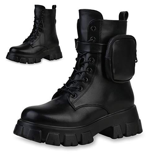Giralin Damen Stiefeletten Leicht Gefütterte Plateau Boots Seitliche Taschen Schnürer Schuhe Blockabsatz Stiefel 197981 Schwarz PU 37