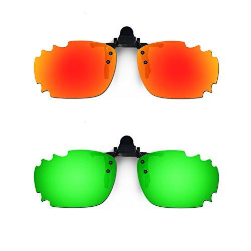 HKUCO Occhiali da Sole Clip Rosso/Verde Polarizzato Lenti per Lenti da Vista Miopia con Lenti Polarizzato UV400 Protect