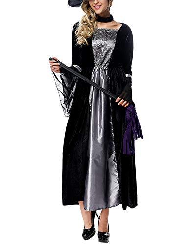 YAOTT Traje De Halloween Bruja Disfraz Vampira Cosplay para Mujer Negro Un tamaño