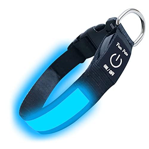 """Fun Pets Hundesicherheitshalsband mit ultraheller, wiederaufladbarer LED mit hervorragender Sichtbarkeit und erhöhter Sicherheit X-groß (60cm - 70cm / 23,6"""" - 27,6"""") Blau"""