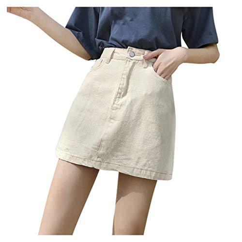 HEling Mujer Falda Vaquera Verano Dama Ocio Color Puro Minifalda de Cintura Alta Moda