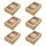 Amosfun Caja de dulces de cartón con ventana para tartas, caja para tartas con ventana, caja de papel marrón, 6 unidades, postres, pasteles, panadería, fiesta, boda, cumpleaños