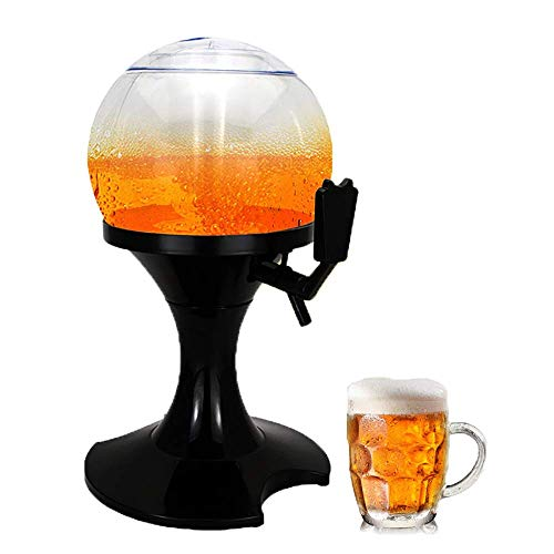 GaoF Dispensador de Cerveza con Enfriador Dispensador de Cerveza esférico de 3.5L Torre de Cerveza Tubo de Hielo para el hogar Buffet Desayuno Bar Bar Club Fiesta Accesorio (Tamaño: 19.5x25.5x
