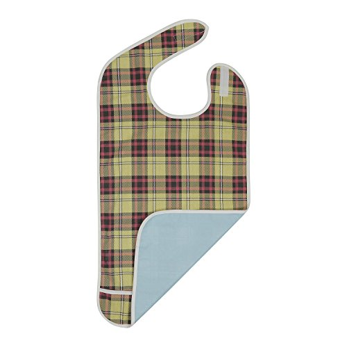 Adult Bib - Reusable Clothing Protector - Waterproof - Crumb Catcher - Machine Washable - Extra Long Senior Men and Women Bibs for Eating by Modaliv (Beige/Burgundy)