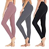 High Waisted Leggings for Women - Soft Athletic Tummy Control Pants, Black, Size