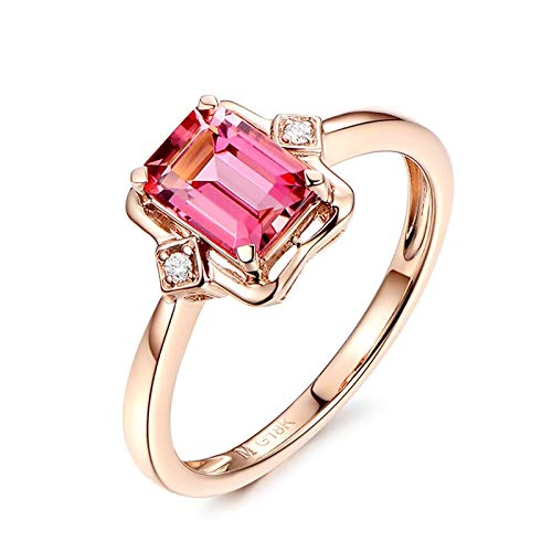 Cenliva Promise Ring Vintage, Wedding Band18K Gold 1.07ct Square Tourmaline IF Ring Size L 1/2