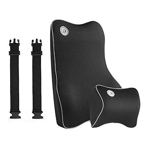 FengYun Cojín Lumbar Kits de Almohadas para el Cuello Cojín de Apoyo para la Espalda Cojín de Espuma viscoelástica Lumbar para la Espalda, Juego de Cojines ergonómicos para el Coche - Negro