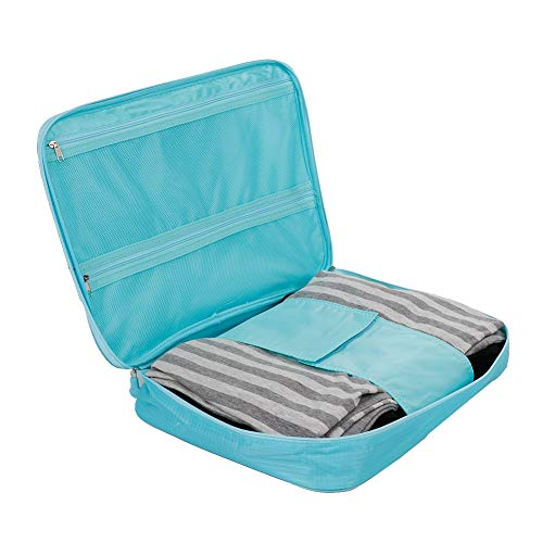 Con asas fuertes a prueba de polvo Resistencia al desgaste Bolsa Organizador de equipaje Cubos de embalaje para viajes para s Lazos Cosméticos Artículos de tocador (azul)