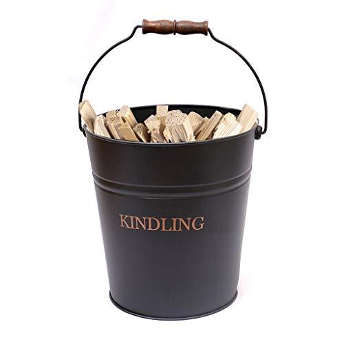 Cesta de leña grande de 17 litros de madera para guardar la cucheta