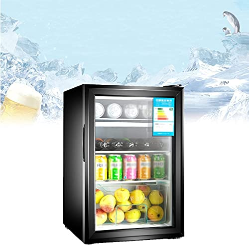 NFRMJMR Mini estante de cerveza de cerveza 65L, refrigerador de bebida compacta con cerradura de seguridad para niños, ciclo de enfriamiento de aire de 360 °, salida de ruido súper bajo, para uso en