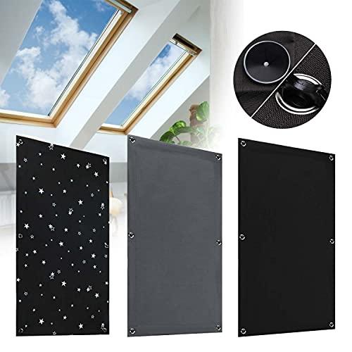 KINLO Estor para ventana de techo, 60 x 73 cm, sin agujeros, oscurecimiento con 7 ventosas, térmico, protección contra el calor, protección UV, color negro