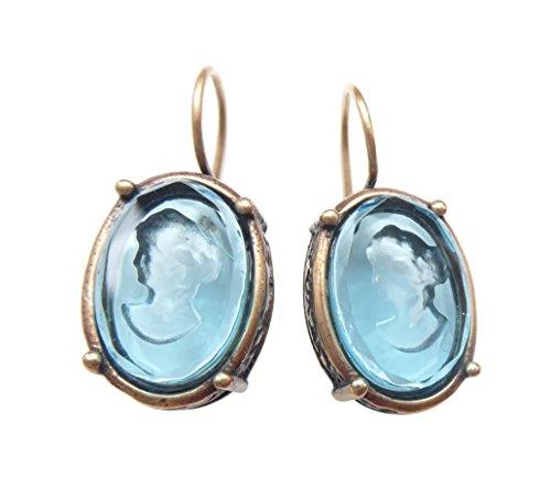 Ovale Gemmen-Ohrringe hellblau-türkis Ohrhänger Glas-Gemme Haken Bügel verschließbar Bronze Handarbeit Designer EXTASIA