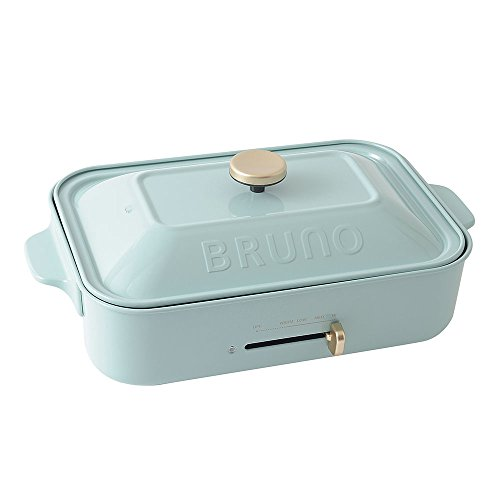 BRUNO ブルーノ コンパクトホットプレート 本体 プレート2種(たこ焼き 平面) ブルーグレー Blue gray おすすめ おしゃれ かわいい これ1台 蓋 ふた付き 1200w 温度調節 洗いやすい 1人 2人 3人用 小型 小さいサイズ 少人数用 ひとり暮らしにも BOE021-BOE021-BGY