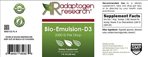 Adaptogen Research - Bio-Emulsion-D3 - 2000IU Per Drop Emulsified Liquid Vitamin D - 1fl oz
