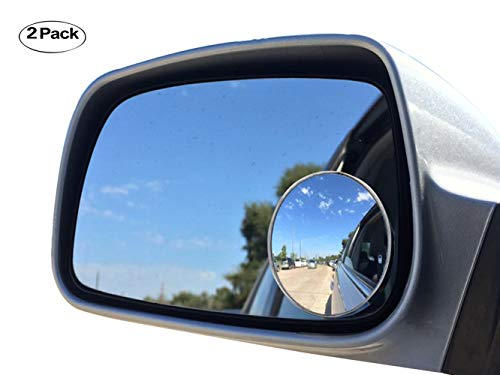 """Newest Upgrade Blind Spot Mirror, Ampper 2"""" Round HD Glass Convex Aluminum Frame Wide Angle Rear View Mirror For All Universal Vehicles Car Suv (Pack Of 2)"""