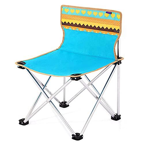Tragbarer Outdoor-Klappstuhl, leicht bedruckter Strandstuhl-Rückenlehne-Rasenhocker, mit Taschen und Aufbewahrungstasche BlueCasual