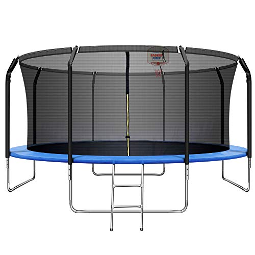 JINS&VICO 14ft Trampoline with Enclosure,760 LBS Weight Capacity for 5-6 Kids,Basketball Hoop and Ladder- Outdoor Trampolines for Kids Adults