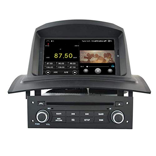 KLL Android 10 Car DVD Player GPS Stereo Head Unit Navi Radio Multimedia WiFi para Renault Megane 2 2002 2003 2004 2005 2006 2007 2008 Control del Volante
