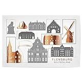 artboxONE Poster 45x30 cm Städte Flensburg Skyline Copper