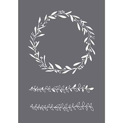 Rayher 45104000 Schablone Blätterranken, Format DIN A5, mit Rakel, Siebdruck-Schablone, Malschablone, selbstklebend
