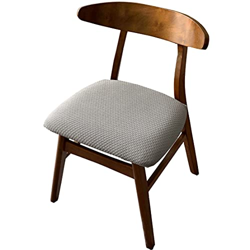 YWTT Stretch Spandex Jacquard Esszimmerstuhl Sitzbezüge, abnehmbare waschbare Esszimmerstuhl Sitzkissen Schonbezüge -4 Stück, grau