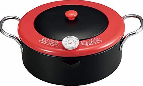 Comolife Non-stick Multi-purpose Deep fryer Iron wok, Iron pan, Color: Black x Red, Size: 12.60x9.45x5.12 inches, Made in Japan