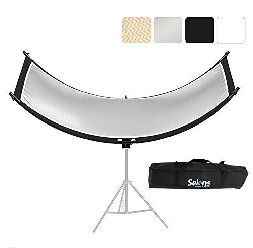 Selens 4 en 1 60x180CM Reflector de Luz Retrato Forma de U Curvado Iluminación Difusor Kit Ajustable para Fotografía Retrato Estudio Fotográfico