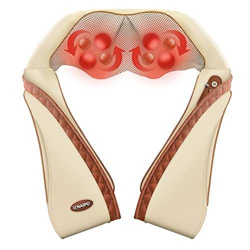 Naipo Nackenmassagegerät Schulter Massagegerät Rücken Nacken Shiatsu Elektrisch Massage Geräte mit Wärmefunktion 3D-Rotation Einstellbaren Geschwindigkeiten