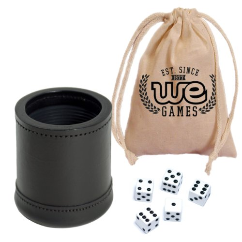 WE Games Wir Spiele Mahagoni Leder Profi Dice Cup mit Gerippter Gummi Futter