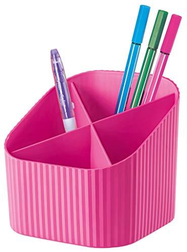 HAN Schreibtischköcher X-LOOP – modernes, junges Design für alle Schreibtischutensilien mit 4 Fächern, pink, 17230-56