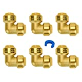 Push-to-Connect Plumbing Fittings, SUNGATOR 1/2-Inch 6-Pack PushFit 90-Degree Elbow, Brass Push Fit Elbow for Copper, PEX, CPVC Pipe, Lead Free Certified