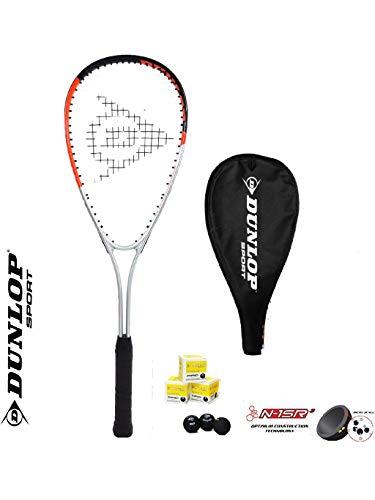 DUNLOP Raquette de squash Hyper Ti 4.0 + 3 balles de squash
