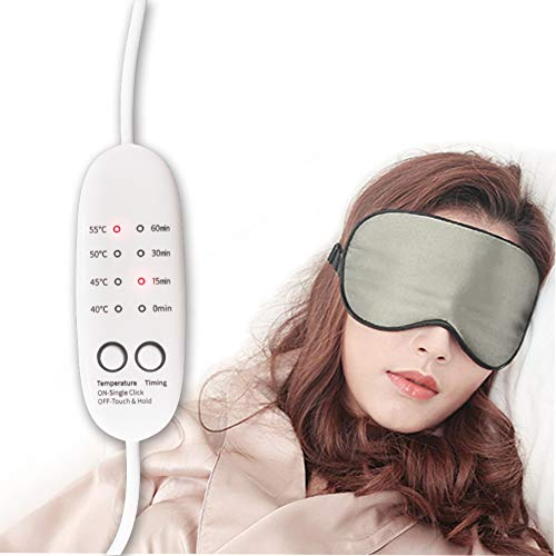 Real Silk Heated Eye Mask, Reusable USB Electric Soft Sleeping Mask with Temperature and Time Control, Comfortable Heating Steam Blindfold for Dry Eyes/Puffy Eyes Relax-Grey