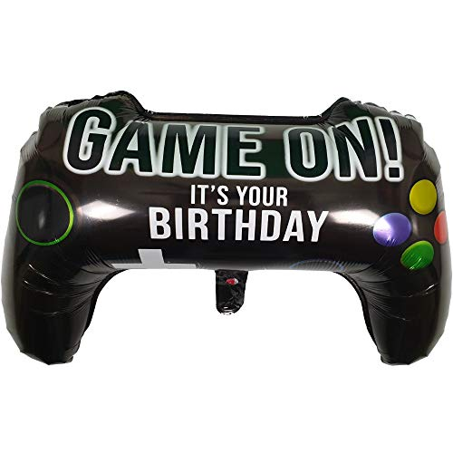 DIWULI, XL Gamepad Luftballon (65x39 cm), Gamecontroller Folien-Ballon, Folienluftballon Gaming, Gamer-Ballon für Geburtstag, LAN-Party, Junge Mädchen Kindergeburtstag, Dekoration, Geschenk-Deko, DIY