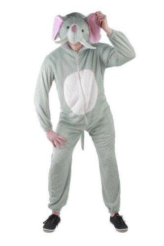 Foxxeo Elefanten Kostüm für Erwachsene Damen und Herren Tierkostüm Overall Jumpsuit Größe XL