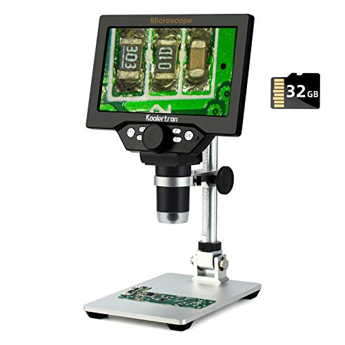 7 inch LCD Digital USB Microscope with 32G TF Card,Koolertron 12MP 1-1200X Magnification Handheld Camera Video Recorder,8 LED Light,Rechargeable Battery for Circuit Board Repair Soldering PCB Coins