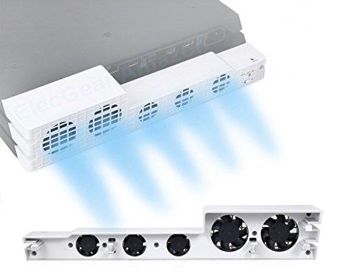 PS4 Pro Turbo Lüfter Ventilator Kühler weiße Farbe-ElecGear Glacial White Externe Kühlgebläse USB 5 Cooling Fan Cooler Auto Luftzirkulation Kühlung Temperatur Schutz für Sony PlayStation 4 Pro Konsole