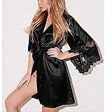 Intimates for Women, Women Sexy Silk Kimono Dressing Babydoll Lace Lingerie Belt Bath Robe Nightwear, Woman Sexy Underwear (Black M)